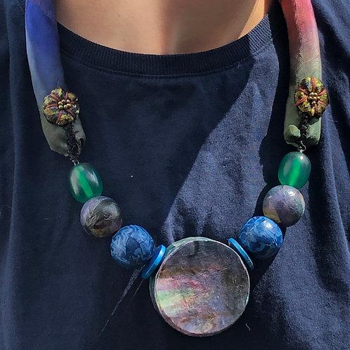 Monet Lilies Decoupaged Necklace