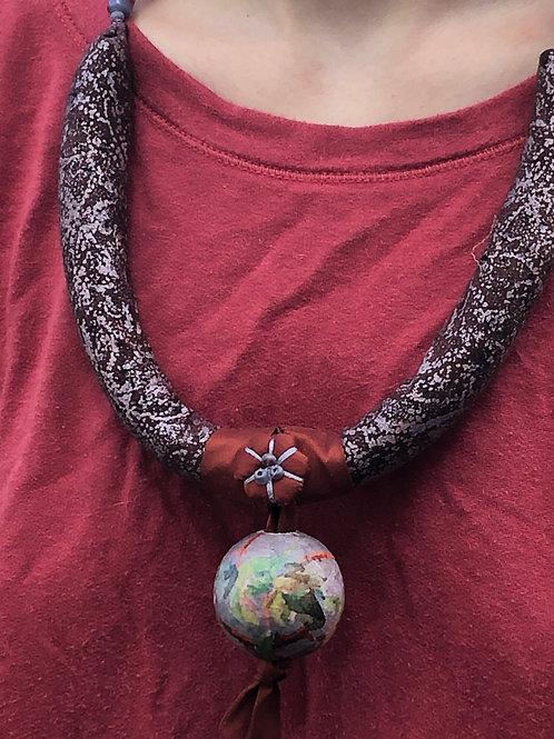 Purple Decoupaged Ball Necklace