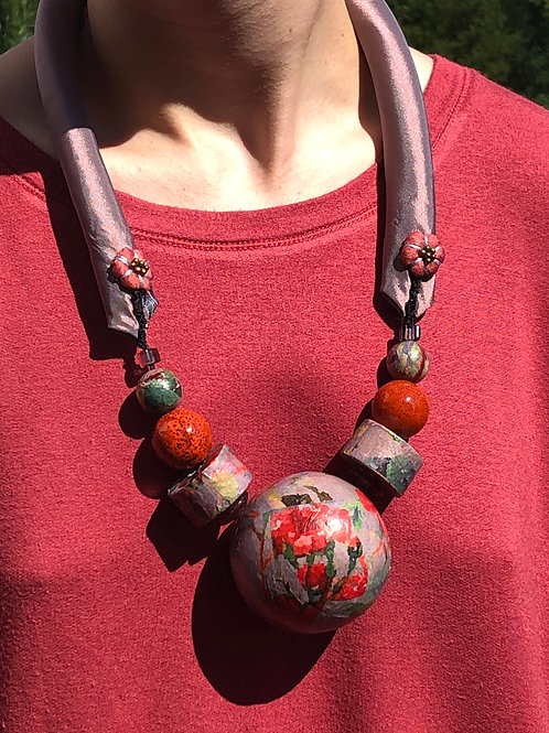 Purple and Red Floral Necklace
