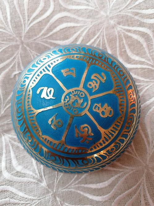 Bol chantant peint & gravé 9cm 5 métaux