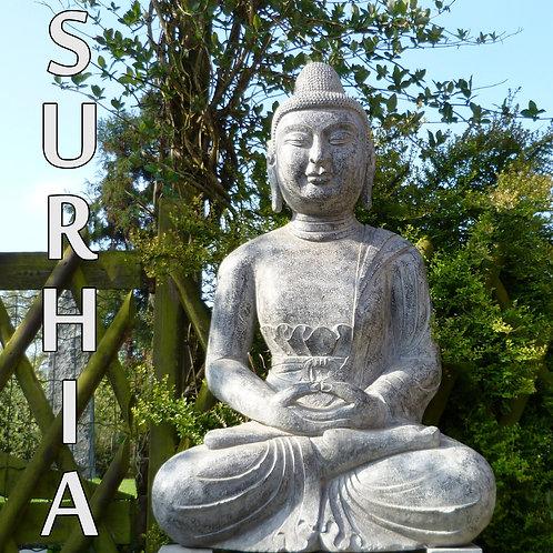 Bouddha Lotus Pierre Bleue 105cm