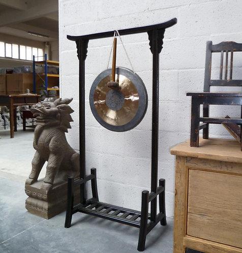 Gong bronze et support bois