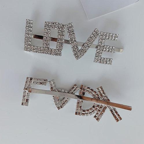 """""""Love"""" rhinestone hairpin"""