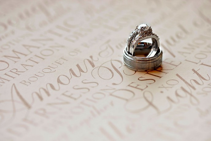 Wedding rings nestled together on words of love.