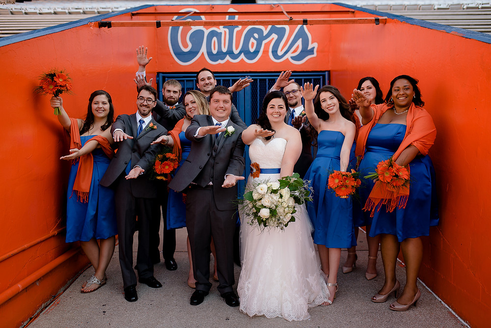Bridal party doing the Chomp in the Florida Gators run out tunnel in Ben Hill Griffin Stadium, The Swamp.