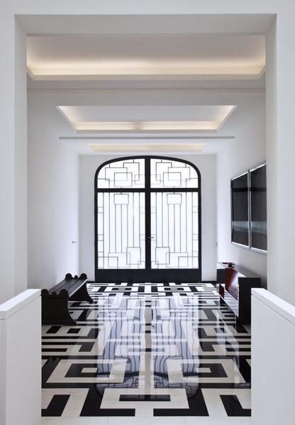 sol marbre carre noir et blanc