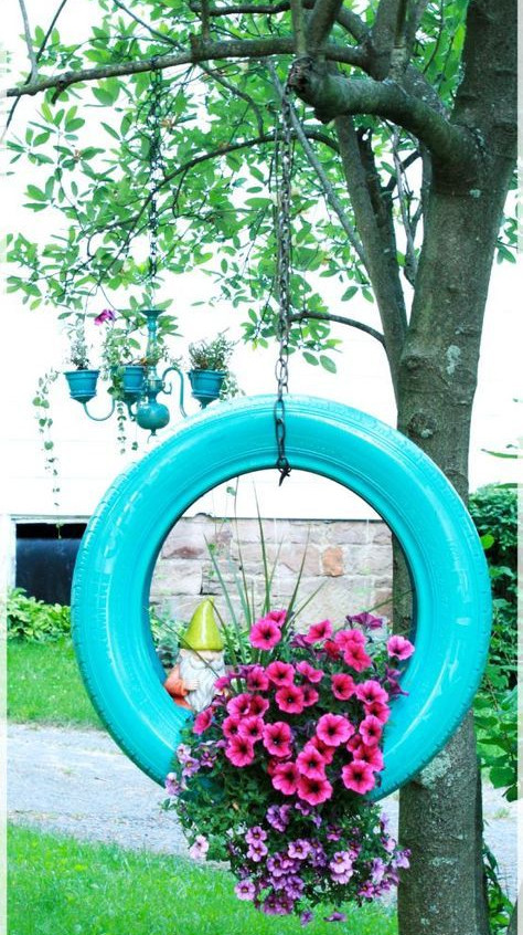 decor de jardin pneu
