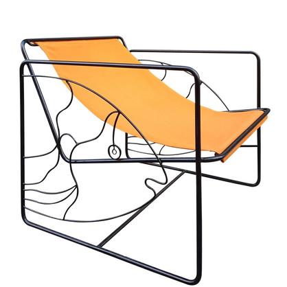 fauteuil-eldorado-poisson-toile-orange-fer-