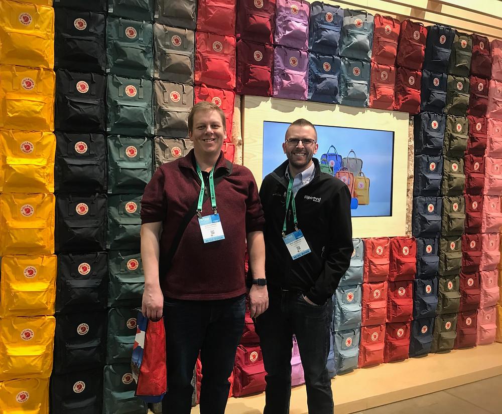 Fjallraven colorful wall of backpacks