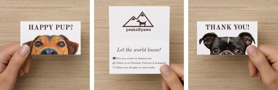 peaksNpaws Amazon packaging insert