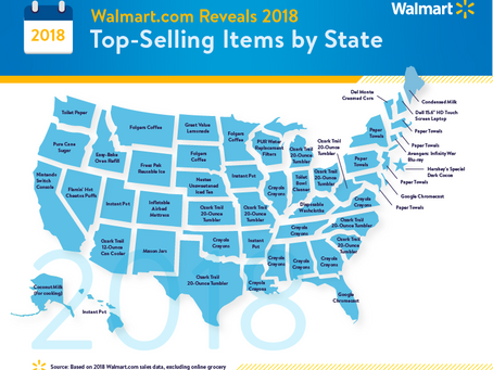 A state-by-state look at the best-selling items on Walmart.com in 2018