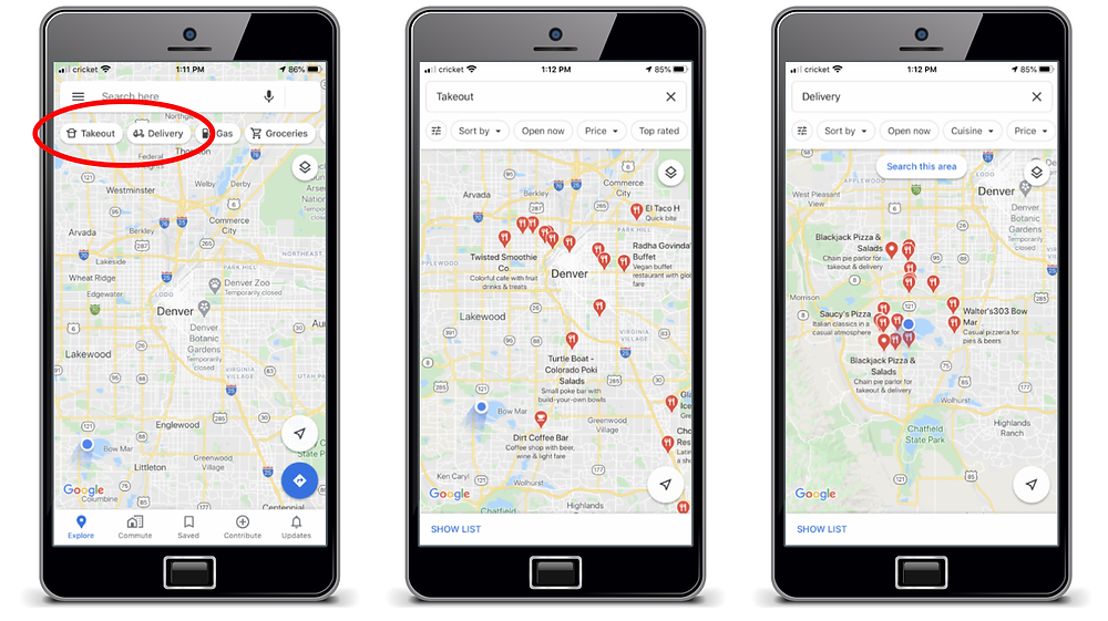 google maps screens showing takeout and delivery
