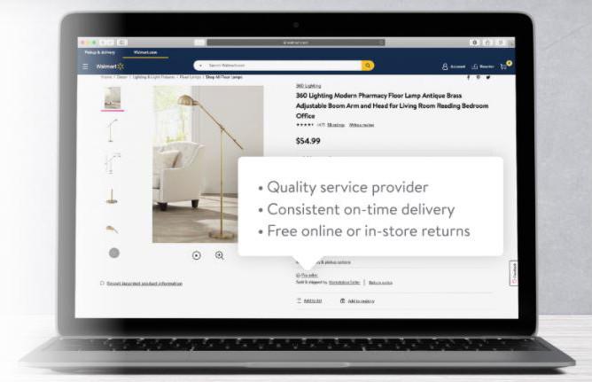 laptop showing a walmart listing