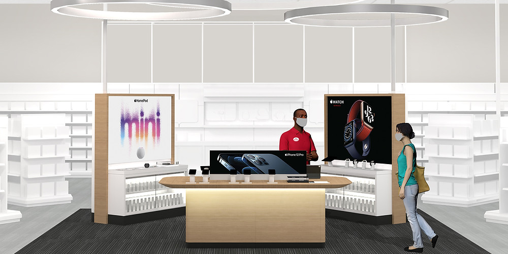 An illustration of what the Apple mini shops at Target will look like.