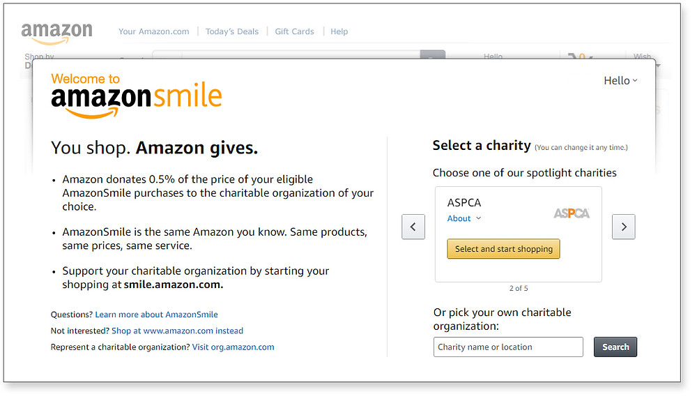 The login page for AmazonSmile