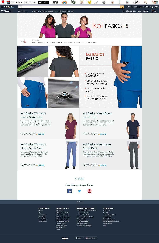 The koi Basics Amazon storefront page
