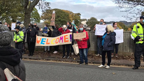 WELCOME REFUGEES! NAPIER BARRACKS, FOLKESTONE, KENT