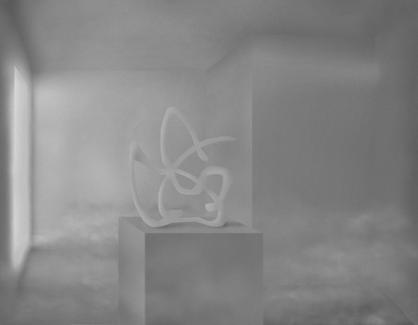 Gesture On Pedestal In Room With Portal and Fog