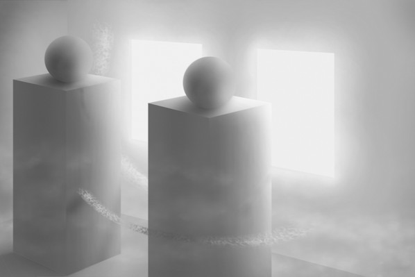 Two Spheres On Pedestals In Room With Two Portals