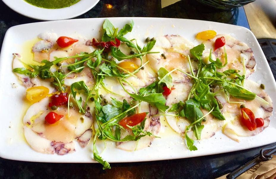 Chef Pirozzi makes a fresh octopus carpaccio in Laguna Beach, California
