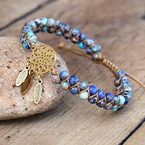 4mm Blue Crazy Lace Agates Dream Catcher Charm Bracelets Braided Wrap