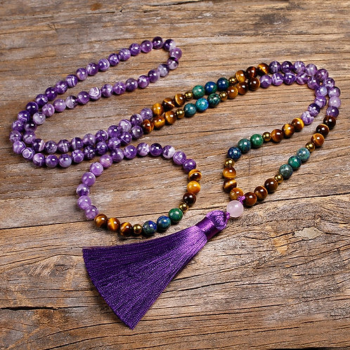 Natural Amethyst Stone Jewelry Sets Tigers Eye, 108 Beads Necklace
