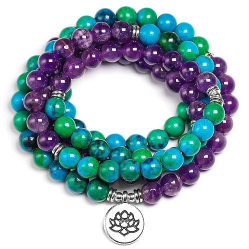 Natural Amethyst 8mm Stone Chrysocolla Beads Healing Bracelet 108 Mala Prayer