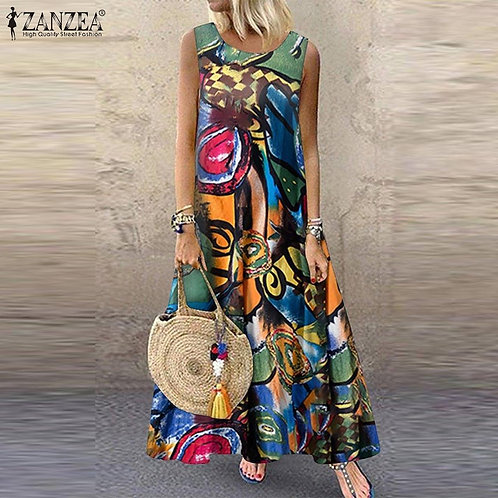 ZANZEA Summer Dress Women Bohemian Sleeveless