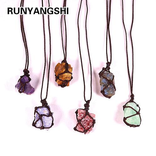 Natural Crystal Quartz Raw Net Crystal Necklace Healing Stone Reiki