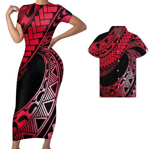 Vintage Polynesian Short Sleeve Bodycon Women Couple Plus Size Men Beach Shirt