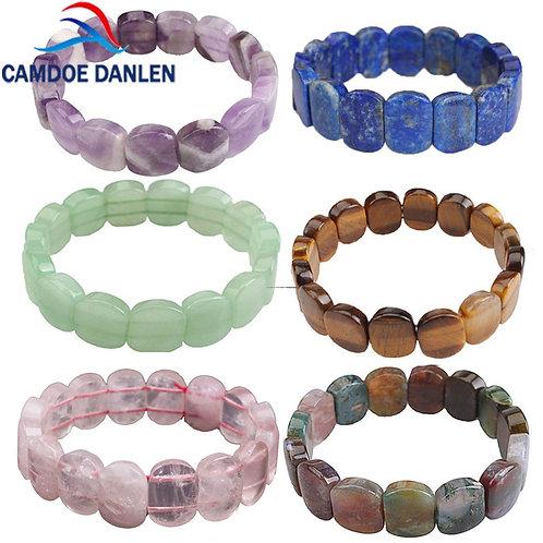 Natural Stone Beads Tiger Eyes/Amethysts Elastic Rope Bangles & Bracelets