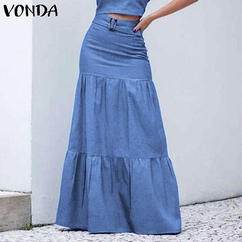 High Waist Ruffle Floor-Length Skirts 2021 VONDA Bohemian Swing Long Skirts