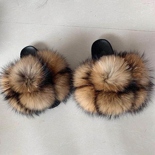 Fur Slipper Sandals Fox Fur Pom Pom Slides for Women and kids