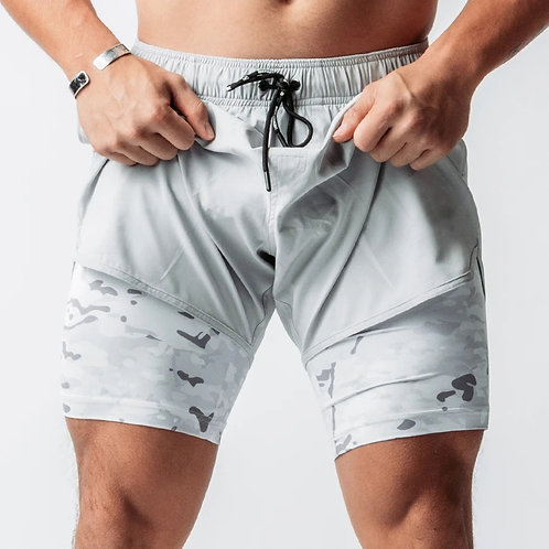 Camouflage 2 in 1Two-Layer Two-In-One Inner Compression Shorts