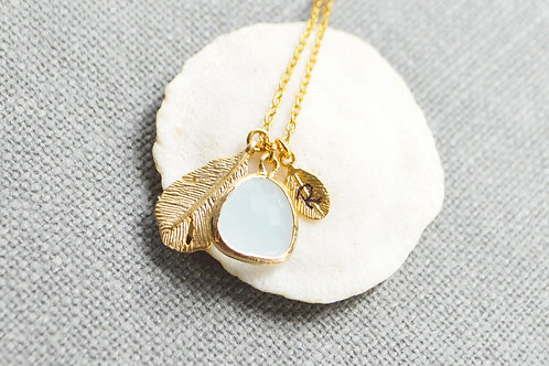 Gold Personalized Dangle Mint Drop Necklace