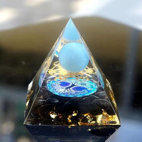 Runes HANDMADE BLUE LACE AGATE SPHERE ORGONE PYRAMID 60MM Crystal  Orgonite EMF