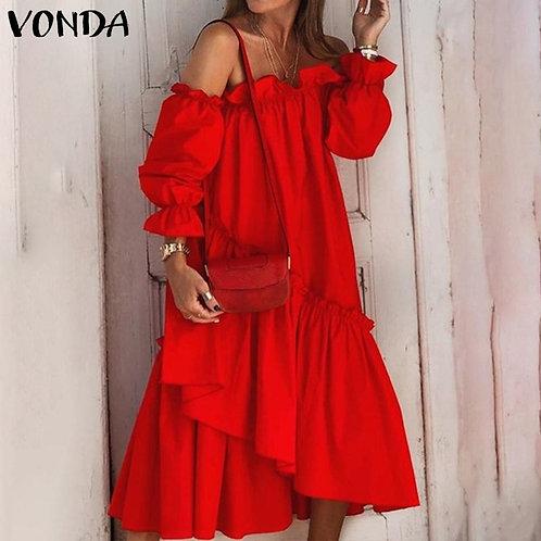 Off Shoulder Dress Women Party Sundress 2021 VONDA Long Sleeve Midi