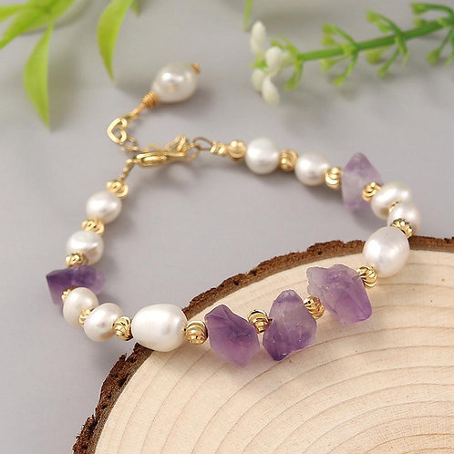 Coeufuedy Freshwater Pearl Bracelet for Women Natural Amethyst  Bracelet