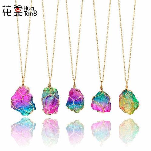 Gold Multicolour Natural Stone Necklace Quartz Crystal Choker Collar
