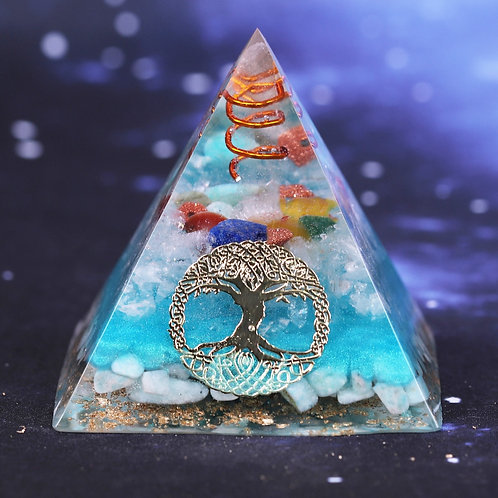 7 Chakra Crystal Orgone Pyramid Tree of Life Amazonite Resin