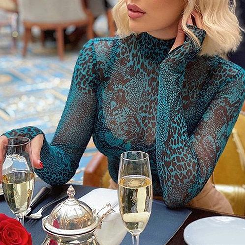 Long Sleeve Blue Snake Print Women Bodysuit Turtlneck See-Through Mesh Casual