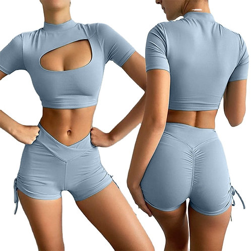Two Piece Sets Shorts Womens With Hollow Out Crop Top Shorts Set