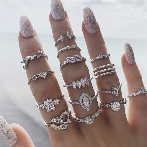 15pcs/Set Crystal Heart Ring Set for Women Elegant RH Plated Finger Rings