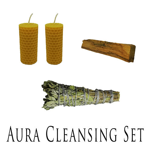 Aura Cleaning Set (1 Sage + 1 Palo Santo + 2 Beeswax Candles) Incence