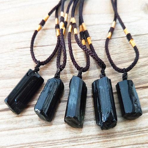 Healing Raw Natural Crystal Black Tourmaline Pendant Necklace Raw Irregular