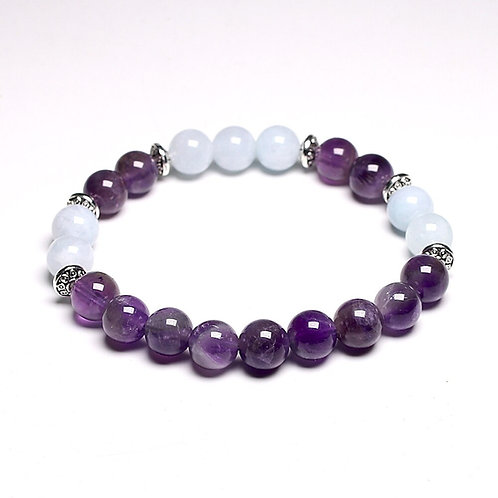 Natural Aquamarine Amethyst Crystal Bracelet Healing Gemstones 8mm Beads
