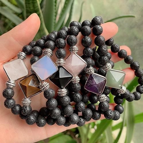 Reiki Healing Energy Stone Mala Bracelets Pyramid Charm Natural Amethysts Quartz