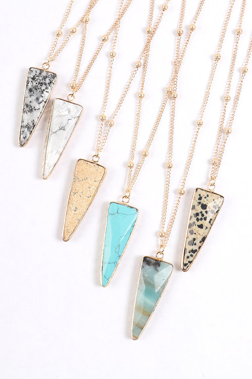 Hdn3119 - Arrowhead Shape Stone Pendant Necklace