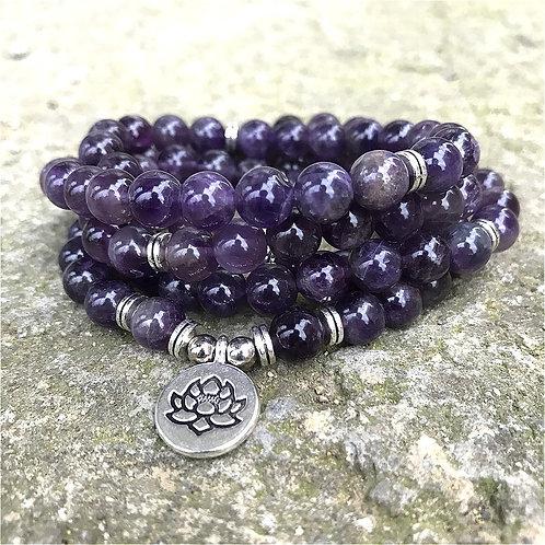 8mm Natural Beads Amethysts 108 Mala Bracelet or Necklace