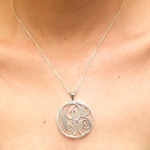 Handmade Personalised Monogram Round 925 Sterling Silver Necklace